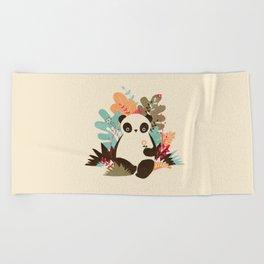 Flower Panda Beach Towel