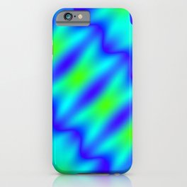 Bright pattern of blurry light blue and green lines and curly patterns. iPhone Case
