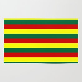 red green yellow stripes Rug