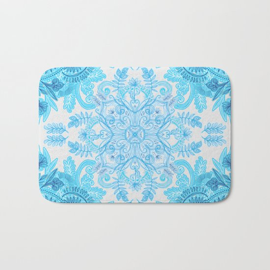 Symmetrical Pattern in Blue and Turquoise Bath Mat
