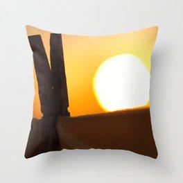 Clothes peg at sunrise Throw Pillow
