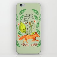 sayings iPhone & iPod Skins featuring Every Fox...fox, sayings, typography, quote, nature, leaves by Slumbermonkey Designs