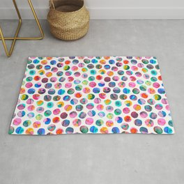 Colorful Ink Marbles Dots  Rug