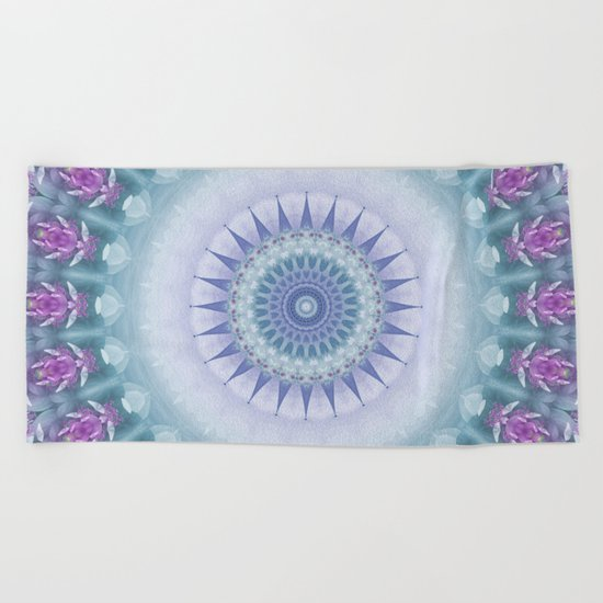 Violet Flowers Mandala Beach Towel