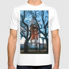 Building with Clock in Buenos Aires Mens Fitted Tee MEDIUM White