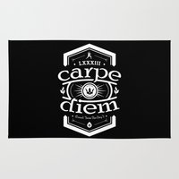 carpe diem Area & Throw Rugs featuring Carpe Diem by 83 Drops