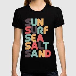 Retro Sun Surf Sea Salt Sand Typography T-shirt