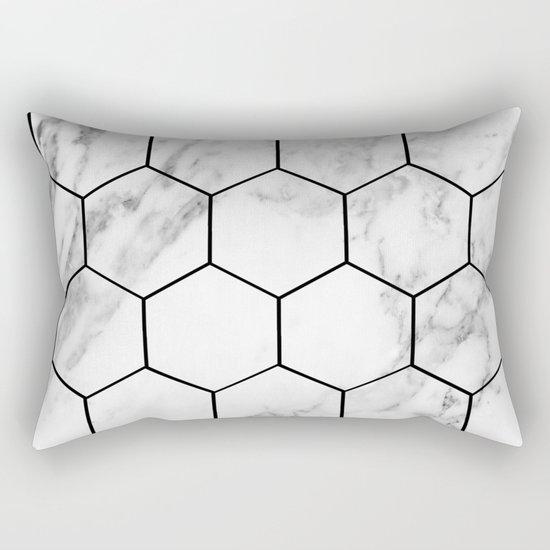 Marble hexagonal tiles - geometric beehive Rectangular Pillow