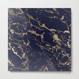 Modern luxury chic navy blue gold marble pattern Metal Print