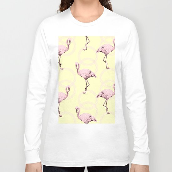 Simply Pink Flamingo Infinity Link Pale Yellow Long Sleeve T-shirt