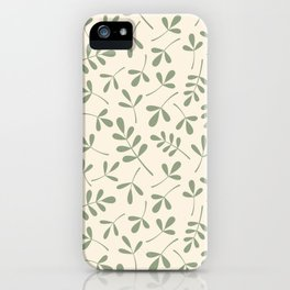 Green on Cream Assorted Leaf Silhouette Pattern iPhone Case