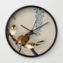 Sparrows and wisteria flower - Vintage Japanese Woodblock Print Art Wall Clock