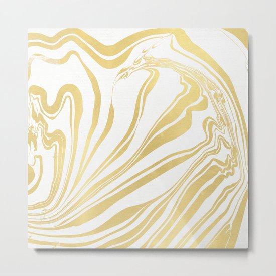 Bronze Copper Gold Rush Marble Ink Swirl Metal Print