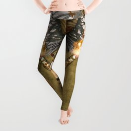 Steampunk lady with wings Leggings
