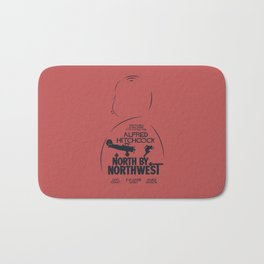 North by Northwest, Alfred Hitchcock, minimal movie poster, classic film, Cary Grant, alternative Bath Mat