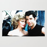 grease Area & Throw Rugs featuring Sandy and Danny from Grease - Painting Style by ElvisTR