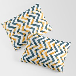 Chevron Oranges and Ink - Geometric Pattern Pillow Sham