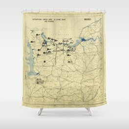 June 6 1944 D-Day World War II Twelfth Army Group Situation Map Shower Curtain