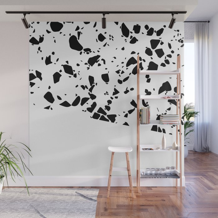 Terrazzo Texture Black and White #8 Wall Mural