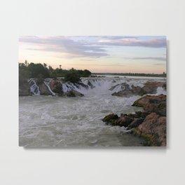 Mekong River Li Phi Waterfalls, sunrise, dawn, Laos Metal Print