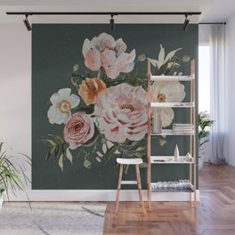Loose Peonies and Poppies on Vintage Green Wall Mural