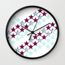 Blue and Maroon Stars Wall Clock
