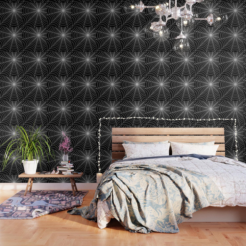 Spiderweb Silver Glitter Wallpaper By Avenger Society6