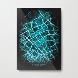 Milton Keynes, England, Blue, White, Neon, Glow, City, Map Metal Print