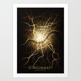 cincinnati Ohio usa city night light map Art Print