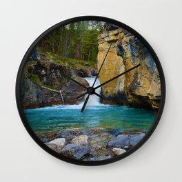 Bottom of Beauty Creek Canyon in Jasper National Park, Canada Wall Clock