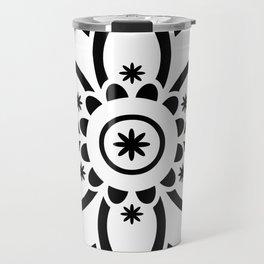 Black & White Patterned Flower Mandala Travel Mug