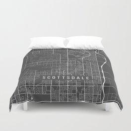 Scottsdale Map, Arizona USA - Charcoal Portrait Duvet Cover