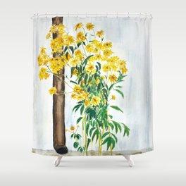 sun choke flowers outside a house Shower Curtain