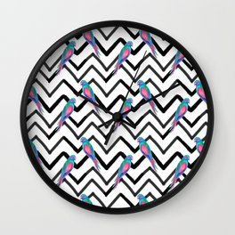 Chevron Painted Parrots Wall Clock