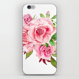 Flower bouquet with roses watercolor iPhone Skin