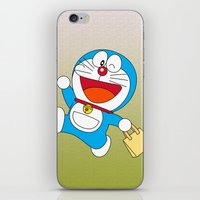 doraemon iPhone & iPod Skins featuring Doraemon Bring Tote Bags by Timeless-Id