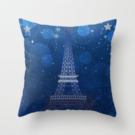 Paris Blue Sparkle Sky Eiffel Tower Throw Pillow