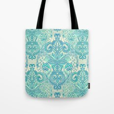 Botanical Geometry - nature pattern in blue, mint green & cream Tote Bag