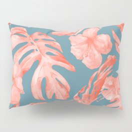 Island Life Coral on Deep Teal Blue Pillow Sham