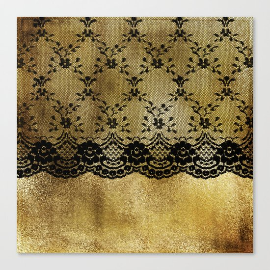 Black floral elegant lace on gold metal background- #Society6 Canvas Print