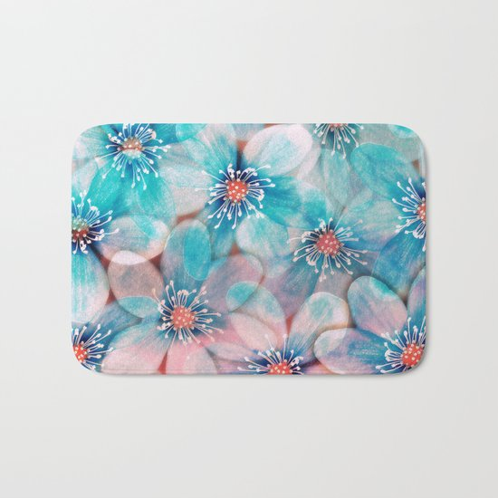 Flowers from Pink to Turquoise Bath Mat