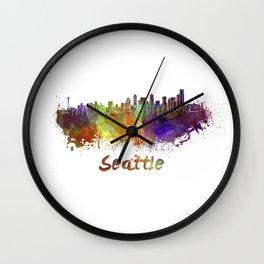 Seattle skyline in watercolor Wall Clock