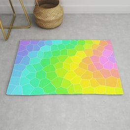 Wild Rainbow Design with Stained Glass Effect Rug