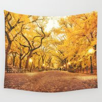 new york city Wall Tapestries featuring New York City Autumn by Vivienne Gucwa