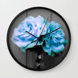 fLoWers Aqua Blue Pop of Color Wall Clock