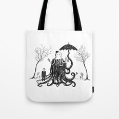 Young Master Lovecraft Finds A Friend Tote Bag