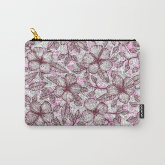 Spring Blossom in Marsala, Pink & Plum Carry-All Pouch