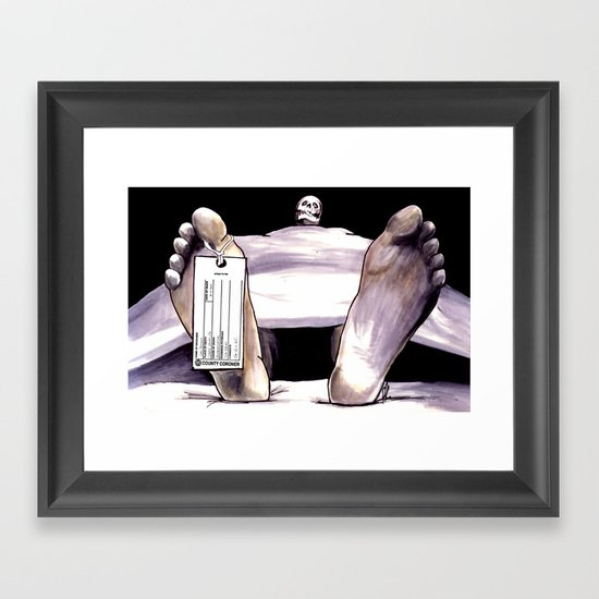 Toe Tag Framed Art Print