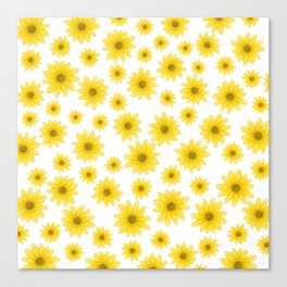 Sunflower Floral Pattern Canvas Print