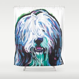 Fun Bearded Collie Dog Portrait bright colorful Pop Art Dog Painting by LEA Shower Curtain